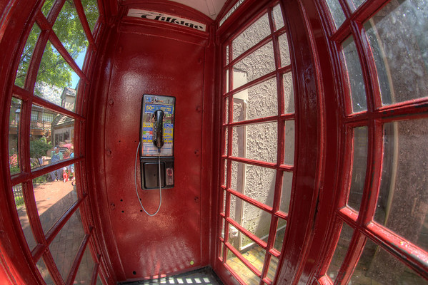 An old fashioned cast iron phone booth, shipping from England and still fully functional, at The Village Shops in Gatlinburg, TN on Monday, August 5, 2013. Copyright 2013 Jason Barnette