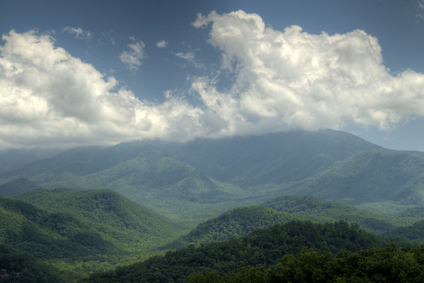 View of a cloudy Mount Le Conte from the overlook on the Gatlinburg Bypass in Gatlinburg, TN on Monday, August 5, 2013. Copyright 2013 Jason Barnette