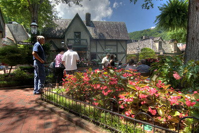 People wander through the beautifully landscaped The Village Shops in Gatlinburg, TN on Monday, August 5, 2013. Copyright 2013 Jason Barnette