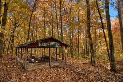 The Harris Pavilion covered picnic shelter at Buffalo Mountain Park in Johnson City, TN on Friday, November 1, 2013. Copyright 2013 Jason Barnette