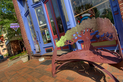 A beautiful metalworks bench in front of a gallery in Jonesborough, TN on Friday, June 6, 2014. Copyright 2014 Jason Barnette