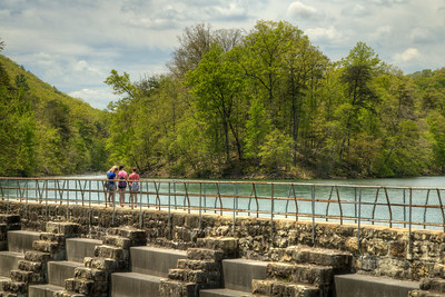 Visitors enjoy the view from the dam at Bays Mountain Park and Planetarium in Kingsport, TN on Saturday, May 2, 2015. Copyright 2015 Jason Barnette