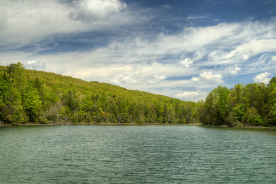 The view across the lake from the dam at Bays Mountain Park and Planetarium in Kingsport, TN on Saturday, May 2, 2015. Copyright 2015 Jason Barnette