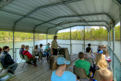 Ranger Bob Culler leads a tour on a barge across the lake at Bays Mountain Park and Planetarium in Kingsport, TN on Saturday, May 2, 2015. Copyright 2015 Jason Barnette
