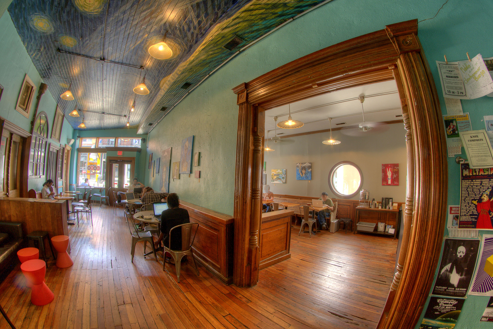 Beautiful decor and a painted ceiling at Old City Java, located in the Old City neighborhood, in Knoxville, TN on Saturday, June 7, 2014. Copyright 2014 Jason Barnette