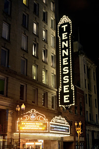 The bright sign at the historic Tennessee Theatre in Knoxville, TN on Tuesday, December 16, 2014. Copyright 2014 Jason Barnette