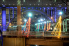 A view of the Henley Street Bridge and Christmas lights in Volunteer Landing Park in Knoxville, TN on Monday, December 15, 2014. Copyright 2014 Jason Barnette