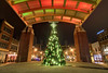 A Christmas tree in the middle of the stage at Market Square in Knoxville, TN on Monday, December 15, 2014. Copyright 2014 Jason Barnette