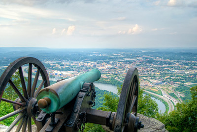 A canon overlooks downtown Chattanooga from Lookout Mountain Battlefield & Point Park in Lookout Mountain, TN on Sunday, July 19, 2015. Copyright 2015 Jason Barnette  Lookout Mountain Battlefield and Point Park is part of the Chickamauga & Chattanooga National Military Park located in nearby Fort Oglethorpe, Georgia. The park is located at the northern tip of Lookout Mountain, overlooking Chattanooga and the Tennessee River.