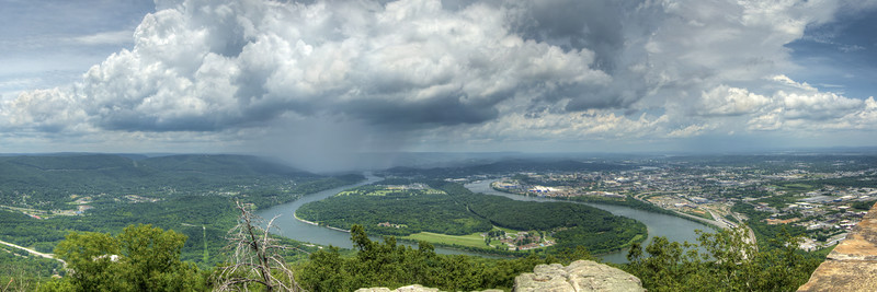 A summer thunderstorm passes over the Tennessee River toward downtown Chattanooga from a viewpoint at Point Park, part of the Chickamauga & Chattanooga National Military Park, in Lookout Mountain, TN on Tuesday, July 21, 2015. Copyright 2015 Jason Barnette
