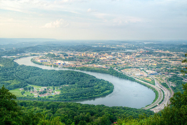 View of the bend in the Tennessee River and downtown Chattanooga from Lookout Mountain Battlefield & Point Park in Lookout Mountain, TN on Sunday, July 19, 2015. Copyright 2015 Jason Barnette  Lookout Mountain Battlefield and Point Park is part of the Chickamauga & Chattanooga National Military Park located in nearby Fort Oglethorpe, Georgia. The park is located at the northern tip of Lookout Mountain, overlooking Chattanooga and the Tennessee River.