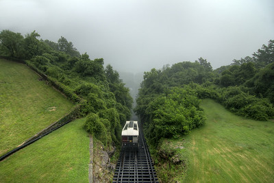 The landscape view disappears as a summer thunderstorm envelopes the mountain at The Incline Railway in Lookout Mountain, TN on Wednesday, July 22, 2015. Copyright 2015 Jason Barnette