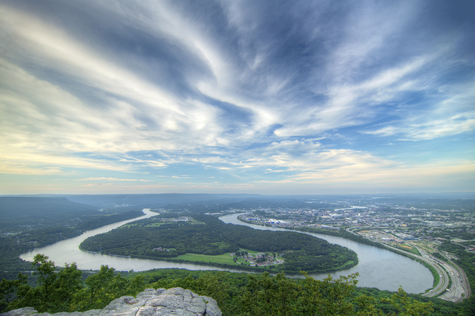 Wispy clouds cover the sky in the late evening sun from a viewpoint at Point Park, part of the Chickamauga & Chattanooga National Military Park, in Lookout Mountain, TN on Tuesday, July 21, 2015. Copyright 2015 Jason Barnette