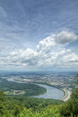 View of the Tennessee River and downtown Chattanooga from Point Park, part of the Chickamauga & Chattanooga National Military Park, in Lookout Mountain, TN on Tuesday, July 21, 2015. Copyright 2015 Jason Barnette