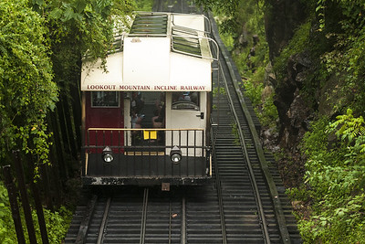 One of the cars makes the long journey up the steep railroad at The Incline Railway in Lookout Mountain, TN on Wednesday, July 22, 2015. Copyright 2015 Jason Barnette