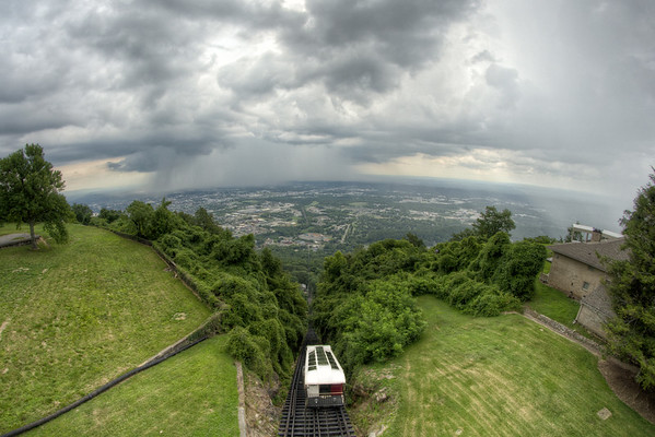 An isolated summer thunderstorm moves across the Chattanooga with a great view from The Incline Railway in Lookout Mountain, TN on Wednesday, July 22, 2015. Copyright 2015 Jason Barnette