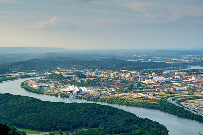 View of downtown Chattanooga from Lookout Mountain Battlefield & Point Park in Lookout Mountain, TN on Sunday, July 19, 2015. Copyright 2015 Jason Barnette  Lookout Mountain Battlefield and Point Park is part of the Chickamauga & Chattanooga National Military Park located in nearby Fort Oglethorpe, Georgia. The park is located at the northern tip of Lookout Mountain, overlooking Chattanooga and the Tennessee River.
