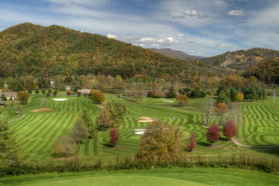 Beautiful fall colors surround the Redtail Mountain Golf Club in Mountain City, TN on Monday, October 20, 2014. Copyright 2014 Jason Barnette