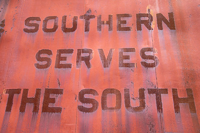 usa, tennessee, nashville, tennessee central railway museum, art, signs, advertisements, trains, railroads, rust, southern serves the south