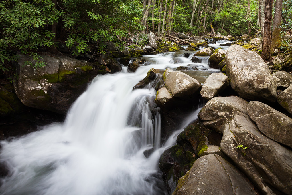 One of the many beautiful waterfalls along the Middle Prong of the Little River. Great Smoky Mountains National Park, TN<br /> <br /> TN-120413-0372