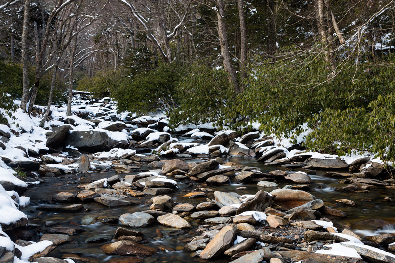 Snow covers some of the rocks along the West Prong of the Little Pigeon River. Great Smoky Mountains National Park, TN  TN-130328-139