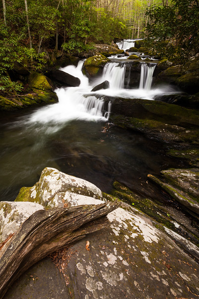 One of the many beautiful waterfalls along the Middle Prong of the Little River. Great Smoky Mountains National Park, TN<br /> <br /> TN-120413-0318