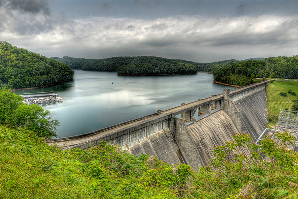 A view across the dam and lake from the upper observation area at Norris Dam State Park in Lake City, TN on Thursday, April 26, 2012. Copyright 2012 Jason Barnette