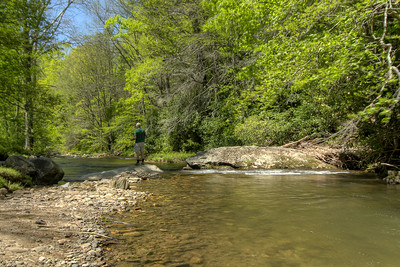A man fishing on the river at Roan Mountain State Park in Roan Mountain, TN on Wednesday, May 15, 2013. Copyright 2013 Jason Barnette