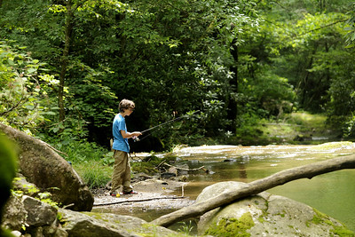 A young boy fishes for trout at Rocky Fork State Park in Flag Pond, TN on Saturday, June 13, 2015. Copyright 2015 Jason Barnette