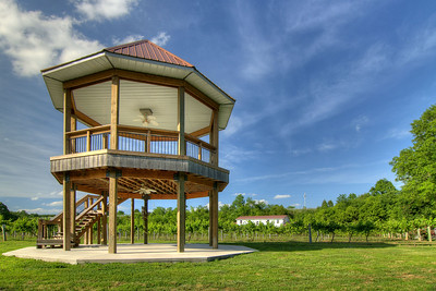 A large, beautiful two-story gazebo used for events and general visitors overlooks the long rows of vines at Nolichucky Vineyard in Russellville, TN on Friday, June 6, 2014. Copyright 2014 Jason Barnette