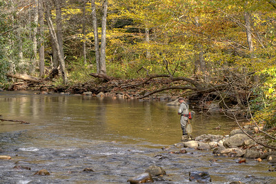 A man fishes along calm waters near Highway 133 in the Backbone Rock Recreation Area in Shady Valley, TN on Friday, October 24, 2014. Copyright 2014 Jason Barnette