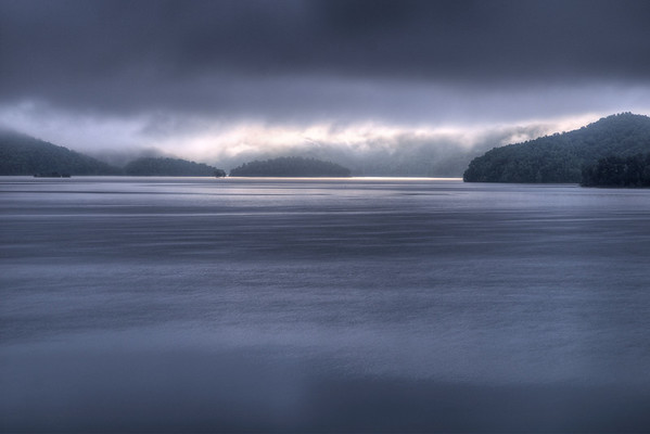 Heavy fog covers the sky during dawn over South Holston Lake in Bristol, TN on Friday, July 25, 2014. Copyright 2014 Jason Barnette