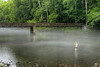 An early morning fly fisherman surrounded by fog in the shallow waters of the South Fork of the Holston River at the Osceola Island & Weir Dam Recreation Area at South Holston Lake in Bristol, TN on Friday, July 25, 2014. Copyright 2014 Jason Barnette