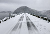 Snow covers the top of the South Holston Dam in Bristol, TN on Thursday, February 13, 2014. Copyright 2014 Jason Barnette