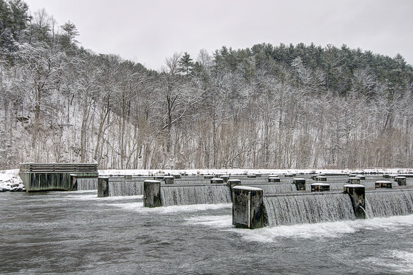 Water churns at the weir dam behind Osceola Island in Bristol, TN on Thursday, February 13, 2014. Copyright 2014 Jason Barnette