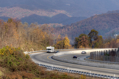 Traffic moves along the interstate at the Metcalf Overlook on Interstate 26 near the Tennessee/North Carolina state border in Flag Pond, TN on Sunday, November 3, 2013. Copyright 2013 Jason Barnette