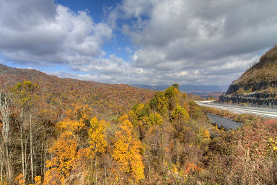Fall colors at the Metcalf Overlook on Interstate 26 near the Tennessee/North Carolina state border in Flag Pond, TN on Sunday, November 3, 2013. Copyright 2013 Jason Barnette