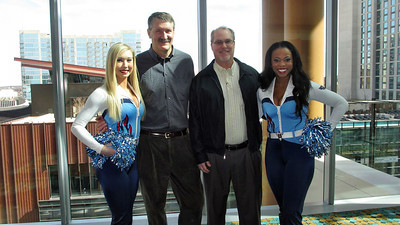 Titans Season Ticket Member Lunch Bash February 18 2014 - Daniel and Russ with Titans Cheerleaders