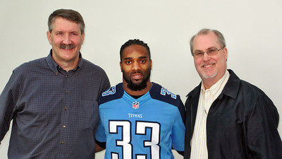 Titans Season Ticket Member Lunch Bash February 18 2014 - Daniel and Russ with Titans Safety Michael Griffin