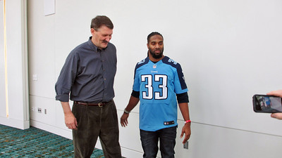 Titans Season Ticket Member Lunch Bash February 18 2014 - Daniel with Titans Safety Michael Griffin