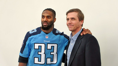 Titans Season Ticket Member Lunch Bash February 18 2014 - Jim Bronaugh with Titans Safety Michael Griffin