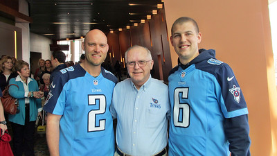 Titans Season Ticket Member Lunch Bash February 18 2014 - Reagan with Titans Kickers Brett Kern 6 and Rob Bironas 2