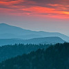 GSM 030                         <br /> Sunset over the Smoky Mountains viewed from Clingman's Dome in Great Smoky Mountains National Park.