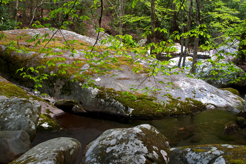 GSM 022 <br />              <br /> Huge boulders create a calm pool on the Middle Prong of the Little River in Great Smoky Mountains National Park, Tennessee.