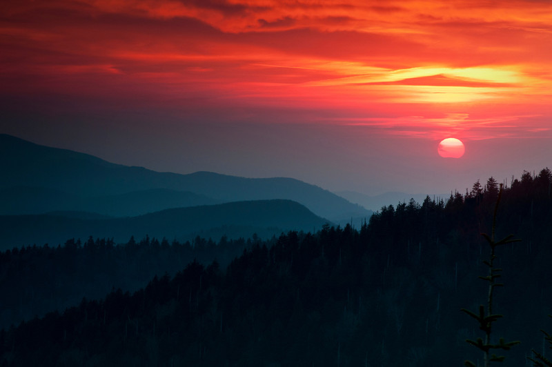 GSM 032                         <br /> Sunset over the Smoky Mountains viewed from Clingman's Dome in Great Smoky Mountains National Park.