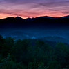 GSM 001                  <br /> Dawn in the Smoky Mountains as the first light begins to penetrate the valley below an overlook along Foothills Parkway just outside Townsend, Tennessee.