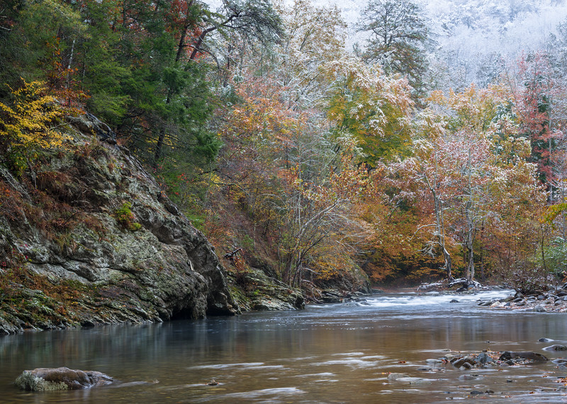 GSM 066<br /> <br /> An early snowfall coats the autumn colors with a dusting of white at Great Smoky Mountains National Park.