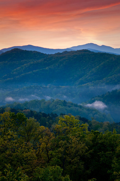 GSM 003                    <br /> Dawn in the Smoky Mountains as the first light begins to penetrate the valley below an overlook along Foothills Parkway just outside Townsend, Tennessee.