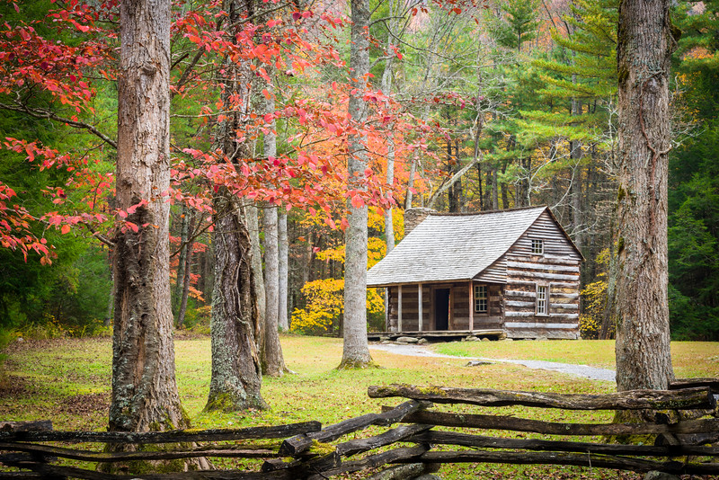 GSM 058 <br /> Autumn at Carter Shields cabin in Cades Cove, Great Smoky Mountains National Park, Tennessee.