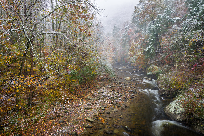 GSM 052     <br /> An early season snow falls on the Middle Prong of the Little River as it flows through Great Smoky Mountains National Park, Tennessee.